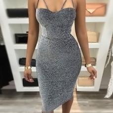 Sexy Spaghetti Strap Sleeveless Silver Blending Knee Length Dress