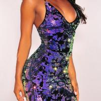 Sexy V Neck Backless Purple Polyester Sheath Mini Dress
