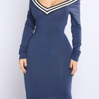Sexy V Neck Cap Sleeves Striped Blue Polyester Knee Length Dress