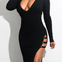 Sexy V Neck  Side Slit Hollow-out Black Milk Fiber Mid Calf Dress