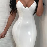 Sexy V Neck Zipper Design White Polyester Sheath Knee Length Dress