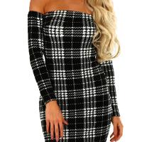 Trendy Dew Shoulder Grid Polyester Sheath Knee Length Dress