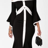Trendy Dew Shoulder Patchwork Black Knee Length Dress
