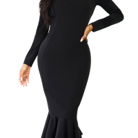 Trendy Falbala Design Black Polyester Sheath Mid Calf Dress