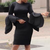 Trendy Round Neck Horn Sleeves Black Cotton Blend Sheath Knee Length Dress