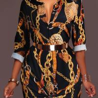 Trendy Turndown Collar Printed Black Healthy Fabric Mini Dress(Without Belt)