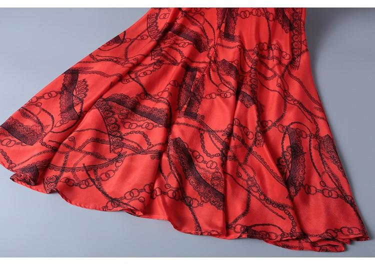 2019 short sleeve lace-up v-neck printed silk dress MIDI skirt womenswear temperament fashion big skirt woman #95054