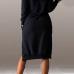 Casual Long Sleeves Side Split Asymmetrical Black Polyester Hooded Dress