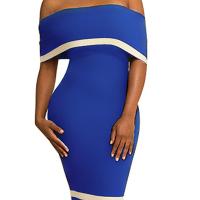 Euramerican Dew Shoulder Patchwork Blue Polyester Sheath Knee Length Dress