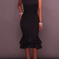 Euramerican Round Neck Falbala Design Black Polyester Sheath Mid Calf Dress