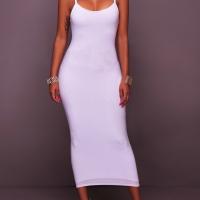 Euramerican Sleeveless White Cotton Blend Sheath Mid Calf Dress