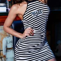 Leisure Round Neck Striped Black-white Spandex Sheath Mini Dress