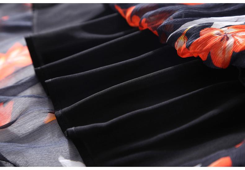Printed silk halter dress summer high - end women's temperament silk silk train train full head MIDI skirt #95063