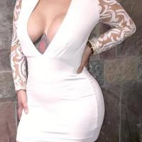 Sexy V Neck Gauze Patchwork White Milk Fiber Sheath Mini Dress