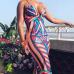 Sexy V Neck Printed Milk Fiber Sheath Knee Length Dress