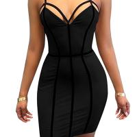 Sexy V Neck Striped Hollow-out Black Milk Fiber Sheath Mini Dress