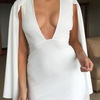 Stylish V Neck Long Sleeves Zipper Design White Polyester Sheath Mini Dress