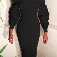 Trendy Dew Shoulder Long Sleeves Black Polyester Sheath Mid Calf Dress