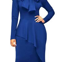 Trendy Turtleneck Bow-Tie Design Navy Blue Polyester Sheath Knee Length Dress