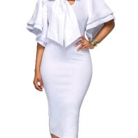 Trendy V Neck Half Sleeves Bow-tie Decoration White Cotton Sheath Knee Length Dress