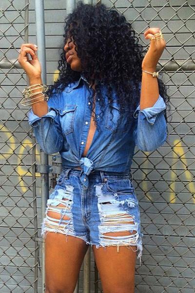 Casual Turndown Collar Long Sleeves Blue Denim Shirt