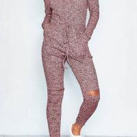 Leisure Dew Shoulder Broken Holes Jujube-red Polyester One-piece Jumpsuits