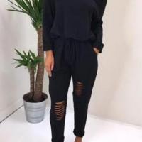 Leisure Dew Shoulder Hollow-out Black Cotton One-piece Jumpsuits