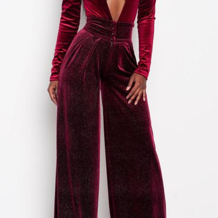 Sexy Deep V Neck Wine Red Velvet One-piece Jumpsuits