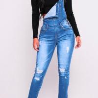 Trendy Gallus Sleeveless Broken Holes Baby Blue Denim One-piece Jumpsuits