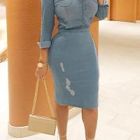 Stylish Long Sleeves Casual Slit Denim Two-piece Dress