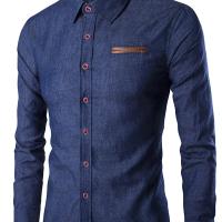 Stylish Turndown Collar Long Sleeves Deep Blue Denim Shirts