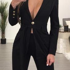 Euramerican Deep V Neck Button Decorative Black Cotton Blazer
