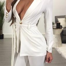 Euramerican Deep V Neck Button Decorative White Cotton Blazer