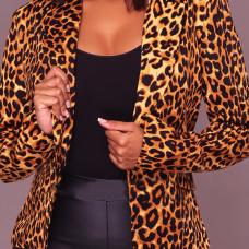 Euramerican Turndown Collar Panther Print Polyester Blazer