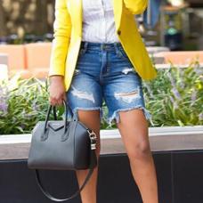 Stylish Turndown Collar Single Button Yellow Polyester Blazer