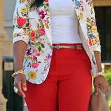 Stylish Turndown Collar Long Sleeves Floral Print Healthy Fabric  Blazer