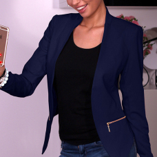 Stylish Zipper Design Blue Cotton Blend Blazer
