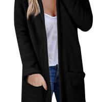 Euramerican Hooded Collar Long Sleeves Black Polyester Long Coat