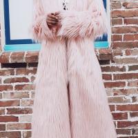 Fashionable V Neck Long Sleeves Pink Faux Fur Long Coat