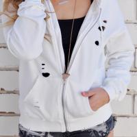 Polyester Hooded Long Sleeve zipper Regular Coat&Jacket
