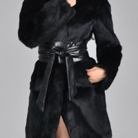 Stylish Turtleneck Long Sleeves Patchwork Black Faux Fur Coat(With Belt)