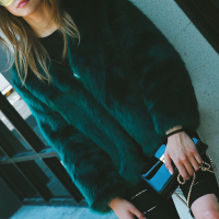 Trendy V Neck Long Sleeves Fur Design Black-green Short Coat