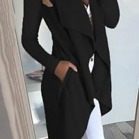 Euramerican Turndown Collar Asymmetrical Black Cotton Long Coat