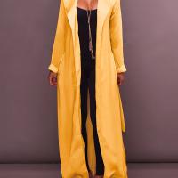 Stylish Turndown Collar Long Sleeves Yellow Chiffon Long Coat