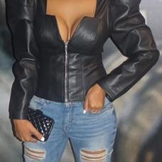 Retro V Neck Zipper Design Black PU Coat