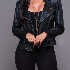 Trendy Turndown Collar Long Sleeves Zipper Design Black PU Jacket