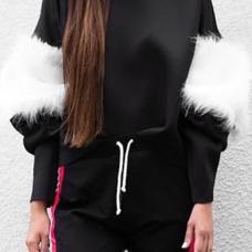 Euramerican Mandarin Collar Villus Patchwork Black Polyester Hoodies