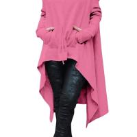 Leisure Long Sleeves Asymmetrical Pink Cotton Hoodies