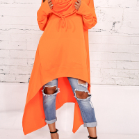 Leisure Heaps Collar Asymmetrical Orange Cotton Blends Pullovers