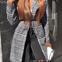 Fashionable Turndown Collar Plaids Design Grey Cotton Long Wool Coat(With Belt)
